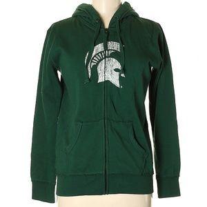 Go Green! MSU Long Sleeve Zip Up Hoodie